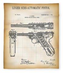 Luger Semi-automatic Pistol Patent  1904 Fleece Blanket