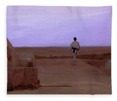 Luke Skywalker Tatooine Sunset Fleece Blanket