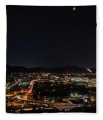 Lunar Eclipse Over Santee 2 Fleece Blanket