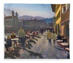 Lunchtime In Luzern Fleece Blanket