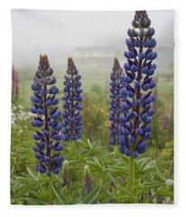Lupine In The Fog Fleece Blanket