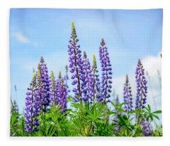 Lupines And Blue Sky Fleece Blanket