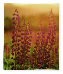 Lupines At Dawn Fleece Blanket