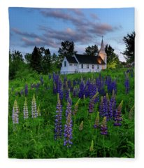 Lupines By The Church Fleece Blanket