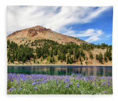 Lupines Lake And Lassen Fleece Blanket