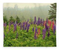 Lupins In The Mist Fleece Blanket