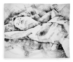 Lying Woman Figure Drawing Fleece Blanket