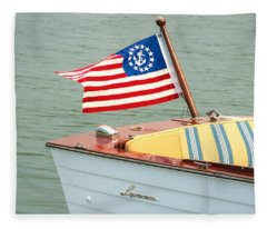 Vintage Mahogany Lyman Runabout Boat With Navy Flag Fleece Blanket