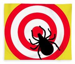Lyme Disease Ixodes Tick On Target Fleece Blanket