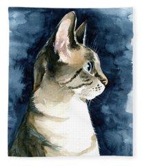 Lynx Point Cat Portrait Fleece Blanket