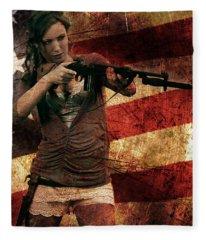 M1 Carbine On American Flag Fleece Blanket