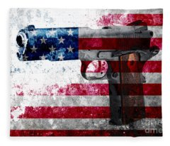 M1911 Colt 45 And American Flag On Distressed Metal Sheet Fleece Blanket