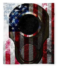 M1911 Colt 45 Muzzle And American Flag On Distressed Metal Sheet Fleece Blanket