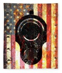 M1911 Colt 45 On Rusted American Flag Fleece Blanket