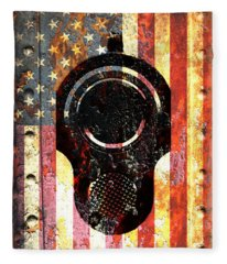 M1911 Colt 45 On Rusted American Flag Fleece Blanket