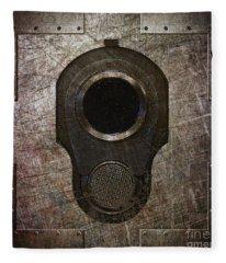 M1911 Muzzle On Rusted Riveted Metal Dark Fleece Blanket