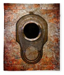 M1911 Muzzle On Rusted Riveted Metal Fleece Blanket