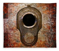 M1911 Muzzle On Rusted Riveted Metal Fleece Blanket