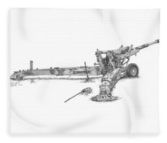 M198 Howitzer - Standard Size Prints Fleece Blanket