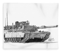 M1a1 A Company Commander Tank Fleece Blanket