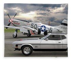 Mach 1 Mustang With P51  Fleece Blanket
