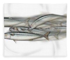 Mackerel School Of Fish - Scomber - Nautical Art - Seafood Art - Marine Art -game Fish Fleece Blanket