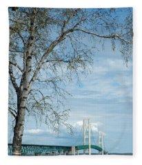 Mackinac Bridge Birch Fleece Blanket