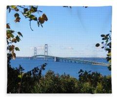 Mackinac Bridge In Early Fall Fleece Blanket