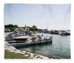 Mackinac Marina Art Fleece Blanket