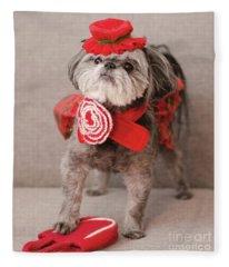 Madam Scarlett In All Red Fleece Blanket