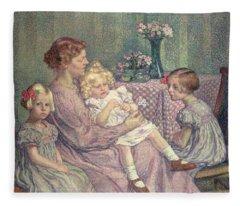 Madame Van De Velde And Her Children Fleece Blanket