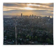 Madison Park Towards The Seattle Skyline Fleece Blanket