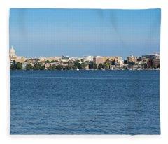 Madison Skyline From Picnic Point Fleece Blanket