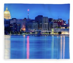 Madison Skyline Reflection Fleece Blanket