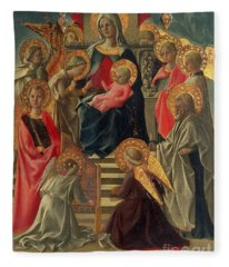 Madonna And Child Enthroned With Angels And Saints Fleece Blanket