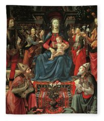 Madonna And Child Enthroned With Saints Fleece Blanket