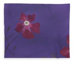 Magenta Flower On Plum Background Fleece Blanket