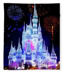 Magic Kingdom Fireworks Fleece Blanket