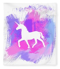 Magic Unicorn 1- Art By Linda Woods Fleece Blanket