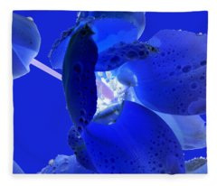Magical Flower I - Blue Velvet Fleece Blanket