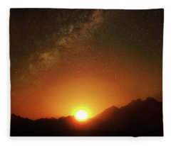 Magical Milkyway Above The African Mountains Fleece Blanket