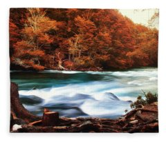 Autumnal Landscape With Lake In The Argentine Patagonia Fleece Blanket