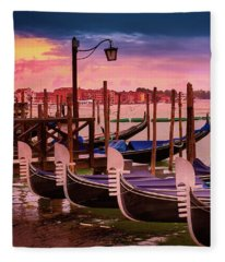 Magical Sunset In Venice Fleece Blanket