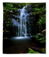 Magical Waterfall Above Spruce Falls In Tremont Smoky Mountains Tennessee  Fleece Blanket