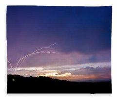 Magnificent Sunset Lightning Fleece Blanket