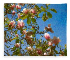 Magnolia Branches With Blue Sky Fleece Blanket