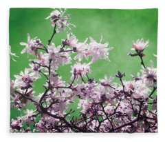 Magnolia Sky In Emerald Green Fleece Blanket