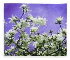 Magnolia Sky In Indigo Fleece Blanket
