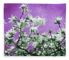 Magnolia Sky In Violet Fleece Blanket