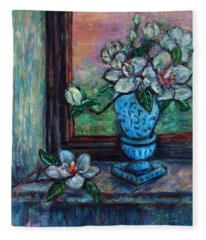 Magnolias In A Blue Vase By The Window Fleece Blanket